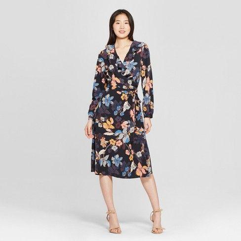 Women's Long Sleeve Ruffle Wrap Midi Dress Who : Target