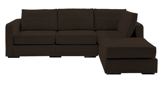 5 Series Four Cushion Chaise Sectional with Mocha Herringsuede Covers