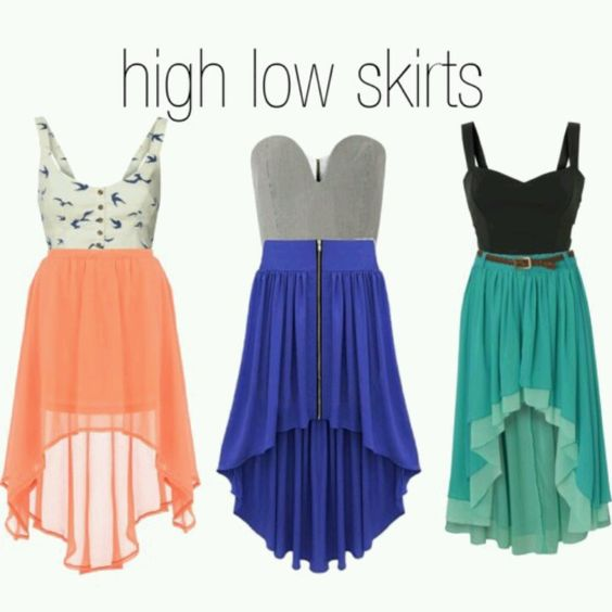 These colorful hi-low skirts are stunning