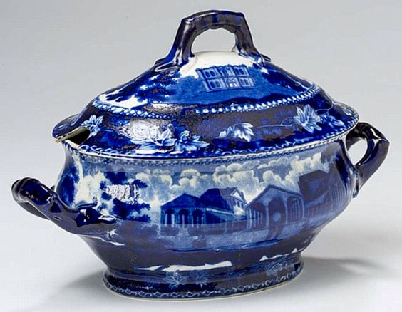 Northeast Auctions - THE COLLECTION OF CHESTER CREUTZBURG AND DAVID MARTIN - PART ONE. 3/5/16.   Lot 35: FULTON MARKET, NEW YORK' AND 'MASONIC HALL, PHILADELPHIA,' EXTREMELY RARE STAFFORDSHIRE DARK BLUE TRANSFER-PRINTED SAUCE TUREEN AND COVER, RALPH STEVENSON, COBRIDGE, AFTER 1821. Estimated Price: $2,500 - $3,500. Passed. Description: An extremely rare form for this view, with loop handles and solid foot as opposed to the usual floral knop and four legs, printed on either side and on the…