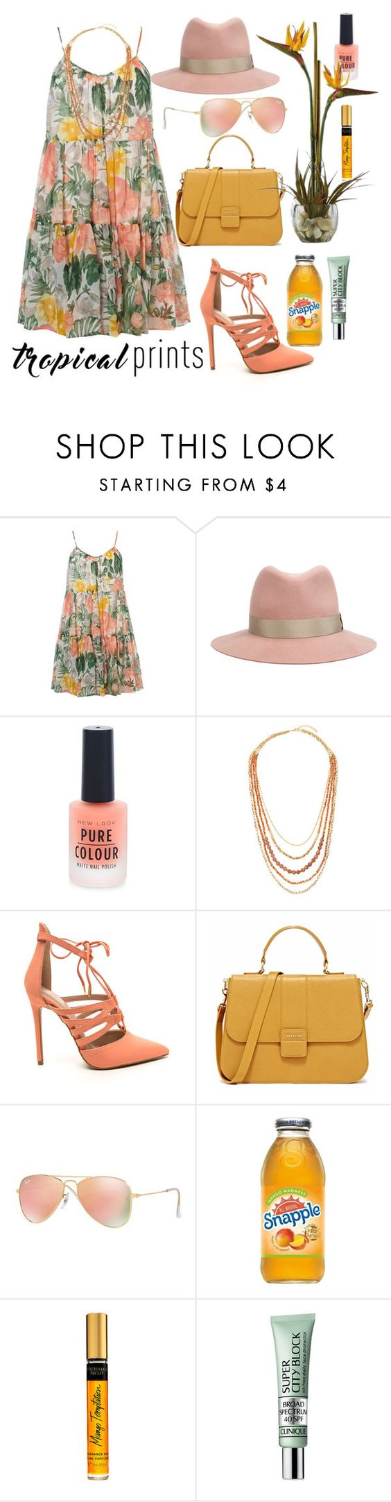 """Tropical prints"" by koryd ❤ liked on Polyvore featuring Dorothy Perkins, rag & bone, New Look, Panacea, Ray-Ban, Clinique, Nearly Natural, tropicalprints and hottropics"