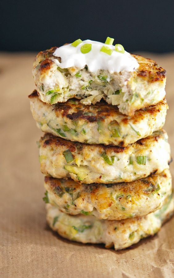 Turkey Zucchini Burgers with Lemon Yogurt Sauce - ground turkey (might sub soy crumbles), zucchini, scallions, egg, fresh mint, fresh parsley, garlic clove, salt, black pepper, cayenne pepper, ground cumin (optional), sauce (plain Greek yogurt, lemon juice & zest, olive oil [might omit], salt, black pepper, scallions [garnish])