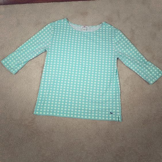 Women's Vineyard Vines Polka Dot Top Size Small Mint Green, Polka Dot Top 93% Cotton, 7% Spandex - Great Condition! Vineyard Vines Tops Tees - Long Sleeve