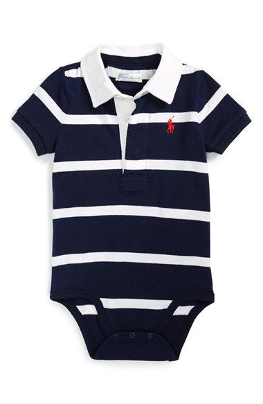 Ralph Lauren Rugby Stripe Bodysuit (Baby Boys) available at #Nordstrom