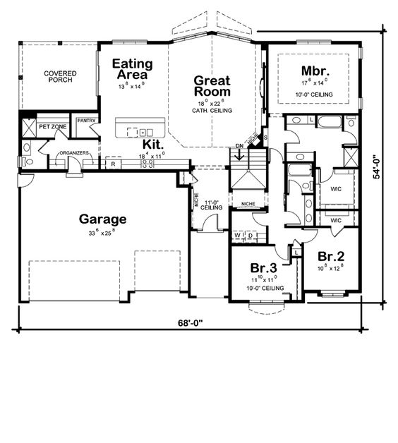 Walk in closet a well and 3 car garage on pinterest for House plans with separate kitchen