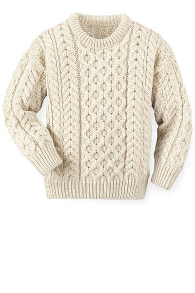 A chunky Aran knit in creamy ivory hues wears best with neutral pairings. Orvis sweater, $129, orvis.com.   - HarpersBAZAAR.com