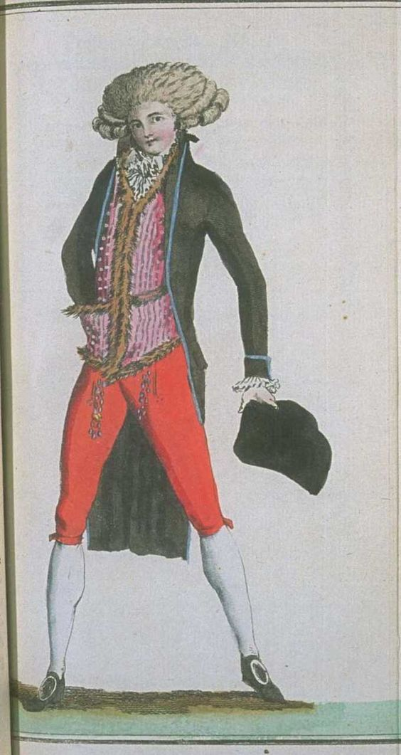 Magasin des Modes, February 1788. Look at this jaunty fellow! Love the black coat with the blue piping and the fur trimmed (!!) waistcoat!: