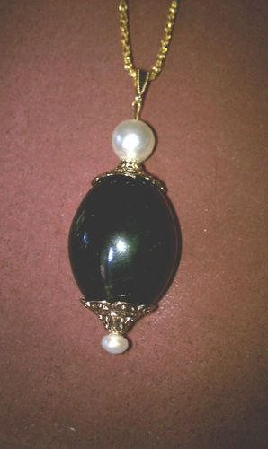 Black Ceramic and Pearl Pendant on 18KGP Chain | eBay