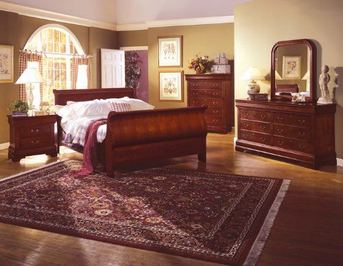 Louis Philippe Cherry Queen Size Sleigh Bed Bedroom Furniture Set