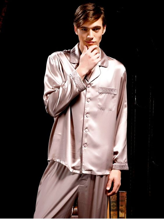 Embroidered Silk Pajama Set for Men MS27 | Embroidered silk ...