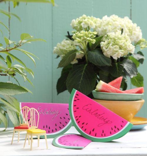 sommerliche Einladung: Klappkarten im Melonen-Design