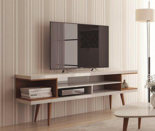 Midcentury Modern Manhattan Comfort Utopia Collection Mid Century Modern Tv Stand With Open 3 Open Shelve Mid Century Modern Tv Stand Modern Tv Stand Furniture
