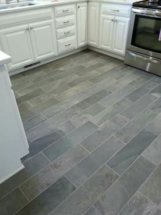 Ivetta black slate porcelain tile from lowes things i 39 ve for Kitchen floor remodel ideas