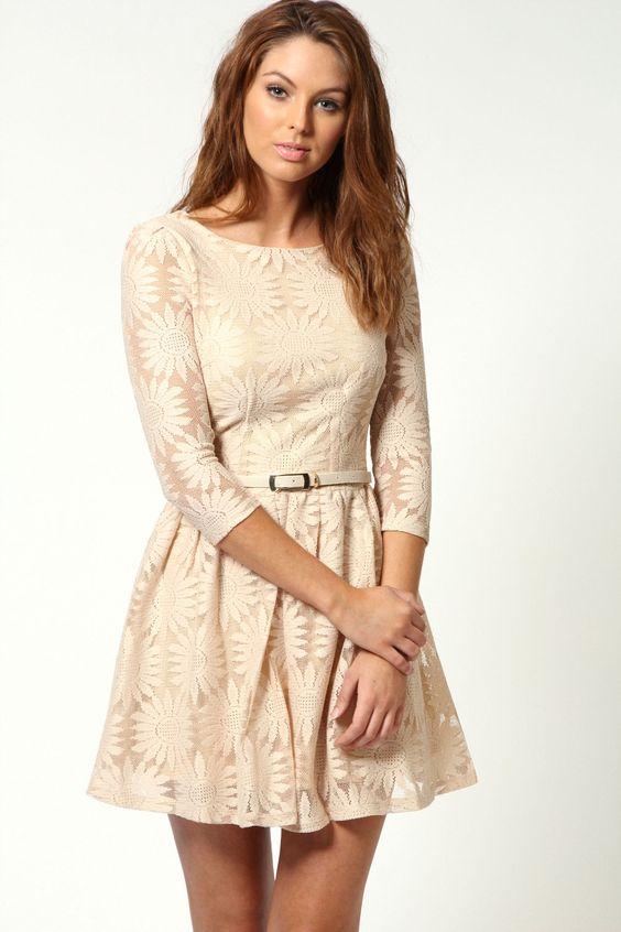 Black lace skater dress ebay