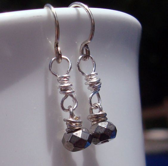 Little Promises Fool's Gold Pyrite stones and silver by otherDays, $22.00