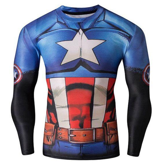 3D America Captain Print Skinny Round Neck Long Sleeves Quick-Dry Long Sleeves Superhero T-Shirt For Men