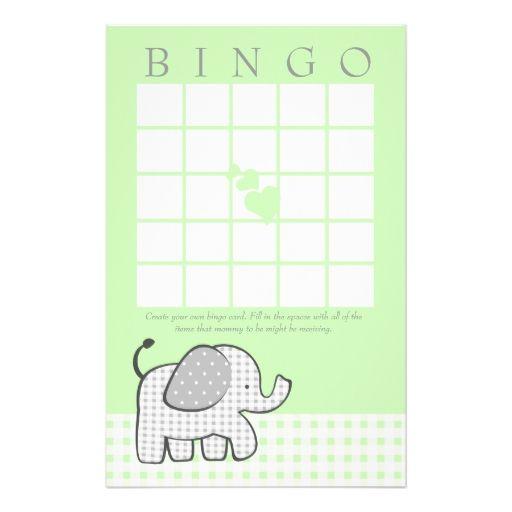 Gingham Elephant Spring Green Bingo Card Stationery Paper