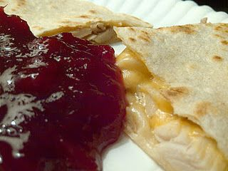 Turkey Quesadilla with Cranberry Dipping Sauce