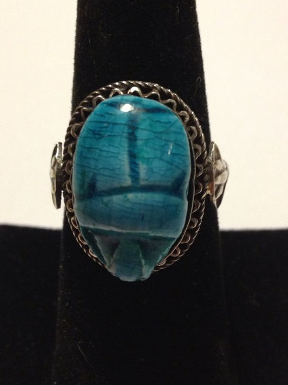 Egyptian Revival Scarab Ring Sz 8.5 Sterling Silver Turquoise Blue Vintage 40s Jewelry Hieroglyphics Art Deco Handmade Nile King Tut on Etsy, $55.00