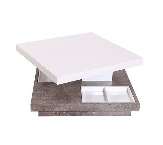 Table Basse Pivotante Turn Beton Et Blanc But Table Basse Mobilier De Cuisine Table Basse Pas Cher