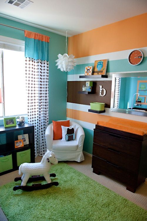 Modern Nursery - orange, aqua, lime, brown