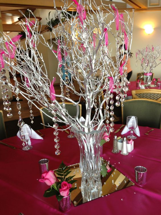Celebration of life purple ribbon and party centerpieces