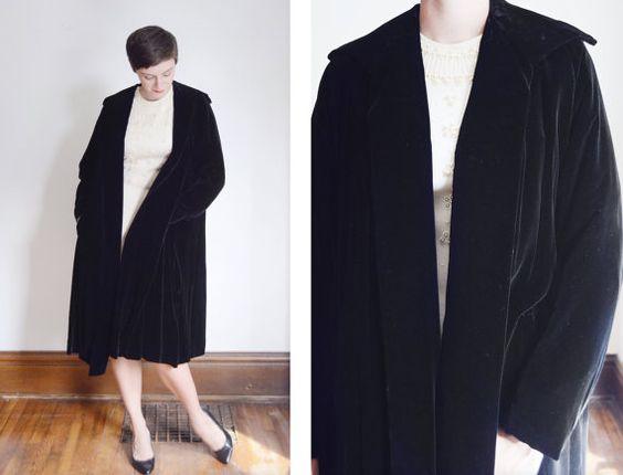 1950s Black Velvet Swing Coat  M/L by LoveCharles on Etsy