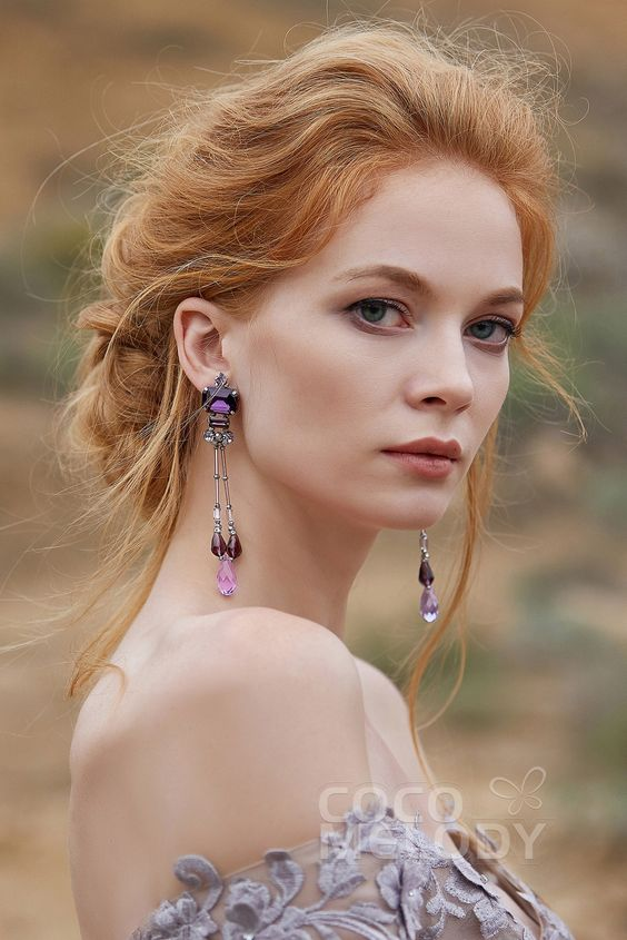 Modern Zircon Wedding Earrings with Jewel and Beading #HG18014 #cocomelody #weddingearrings #bridalearrings #weddingjewelry