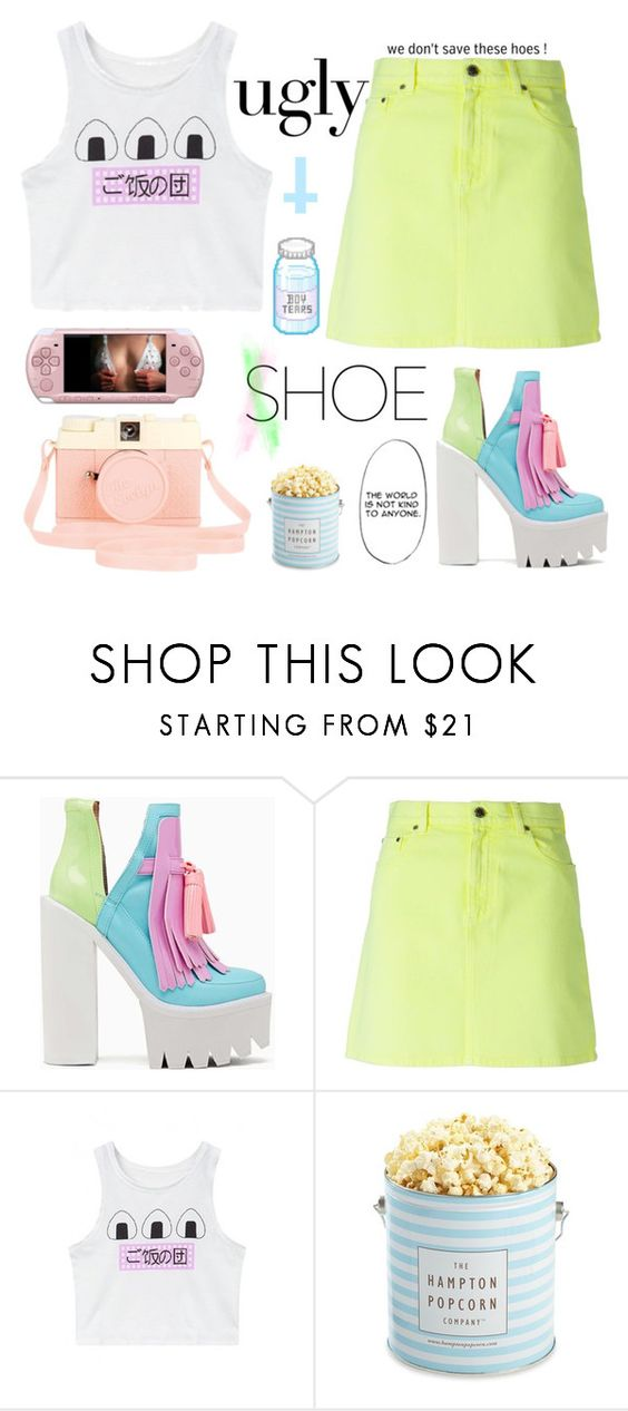 """""""dont stare at me like that ur such a creep"""" by anekochan ❤ liked on Polyvore featuring Jeffrey Campbell, Christopher Kane, WithChic, Urban Outfitters and The Hampton Popcorn Company"""