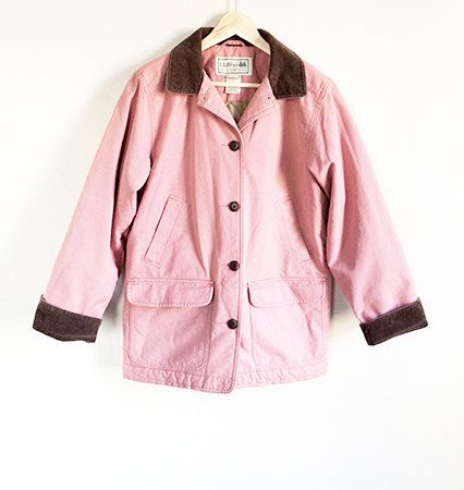 Vintage LL Bean Barn Coat - Thinsulate Jacket - Pink Coat - Field