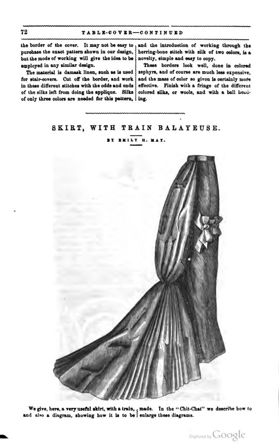 Skirt with train Balayeuse, Peterson's Magazine- July, 1877. This skirt could almost certainly double as a petticoat for the Natural Form Era as well so I'm going to go ahead and pop it into that...