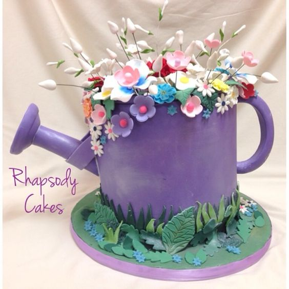 Purple Watering Can Cake