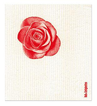 """Schwammtuch """"Rose"""" (weiß/ rot). Das bedruckte Schwammtuch ist ein Naturprodukt und einfach in der Waschmaschine zu reinigen. Er verfärbt nicht, hat eine lange Lebensdauer und ist kompostierbar. Produziert in Deutschland. 20 cm x 22 cm. 70% Viskose, 30% Baumwolle. - Erhältlich bei: http://shop.hokohoko.com"""