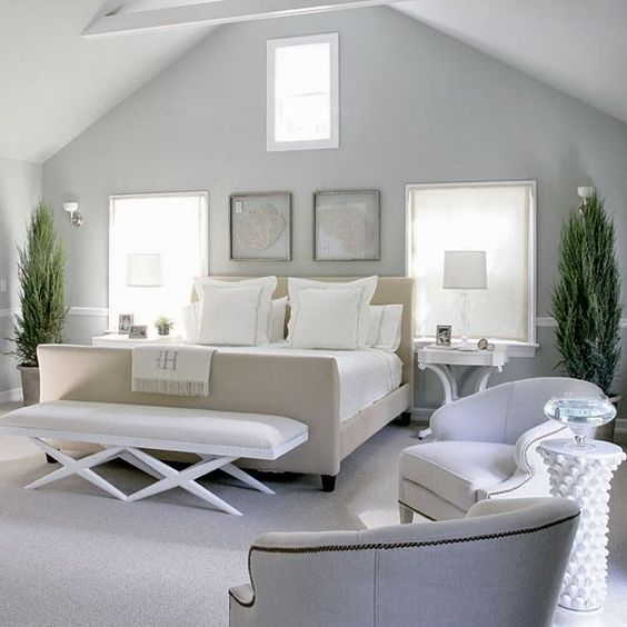 Calming master bedroom with a nod to the beach