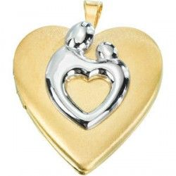 Heart Shaped Mother & Child® Locket in 14K Yellow Gold Filled    Quality: Yellow Gold Filled*  Size: 21.00X19.25 MM (Approx. .81 in. X .74 in.)  Finish: Satin Polished    *Gold Filling is very durable layering that must be at least 5% the weight of the object by law. It is much more durable than gold plating or PVD Plating and should last a lifetime.