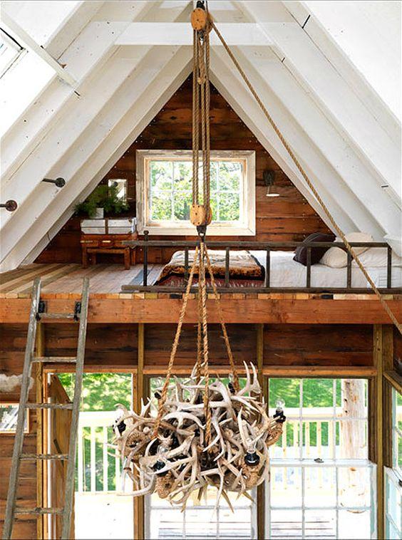 Sleeping Loft - http://theletteredcottage.net/camp-treehouse  #rustic #loft #sleeping #treehouse #tree #house #decor #antler #lighting #lamp #pendant #light