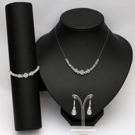 Parure perles givrées, cristal de Swarovski   Parure bijoux ...