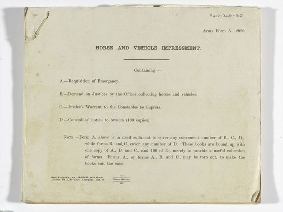 Horse and vehicle impressment order for requisition during - army form