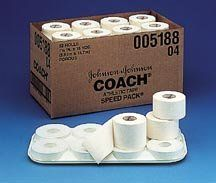 Johnson & Johnson COACH Athletic Tape by Johnson & Johnson. Save 25 Off!. $69.99. White bleached sized cotton backed cloth.  Circular pores in the adhesive mass create porosity.  High tensile strength helps reduce sweat entrapment.  Speed pack with travel tray. 15 yds