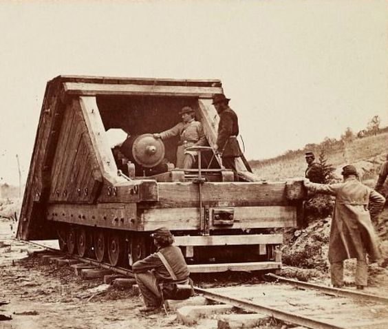 General Grant's railroad battery near Petersburg, Virginia, circa 1864-65.