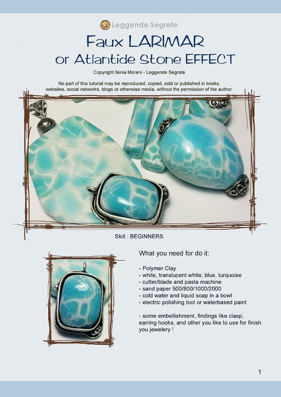 Hallò, this tutorial shows you how to make beads, cabochon or surfaces in polymer clay look like LARIMAR Stones ! Larimar is a rare ston,named