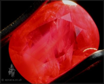 Another heated Mong Hsu ruby with characteristic white cloudy inclusions.