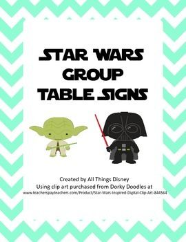 Printable signs to hang in your Star Wars themed classroom. Features characters such as Luke Skywalker, Darth Vader, Han Solo and Yoda. Once you print the signs, just fold in half and laminate and they are ready to hang from the ceiling.  This product includes signs for up to 7 table groups.I used clip art purchased from Dorky Doodles at http://www.teacherspayteachers.com/Product/Star-Wars-Inspired-Digital-Clip-Art-844564 and frames from Golden Rule Design…