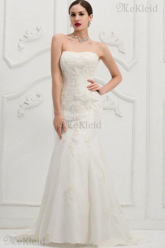Trägerlos Kirche natürliche Taile Gericht Schleppe luxus Brautkleid aus Spitze - Bild 1