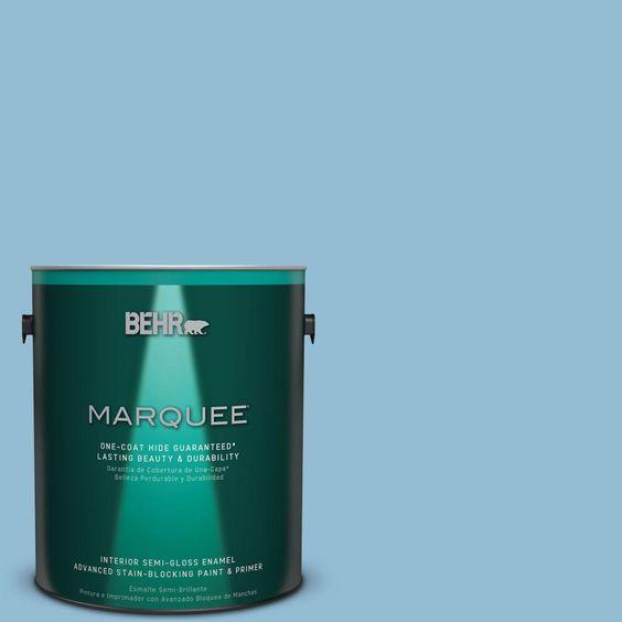 BEHR MARQUEE 1 gal. #M500-3 Blue Chalk One-Coat Hide Semi-Gloss Enamel Interior Paint