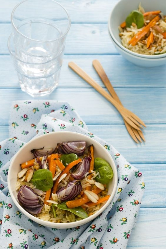 Riso pilaf con verdure arrosto - ricetta riso pilaf - pilaf rice with roasted vegetables