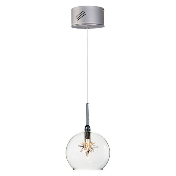 ET2 Starburst Mini Pendant - 4W in. Satin Nickel/Polished Chrome Clear Glass Shade