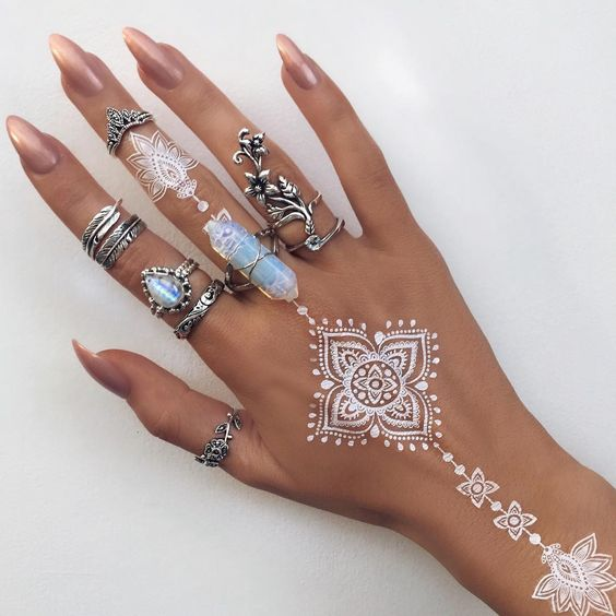 Mehndi Hands With Engagement Ring : White henna and crystal ring on pinterest