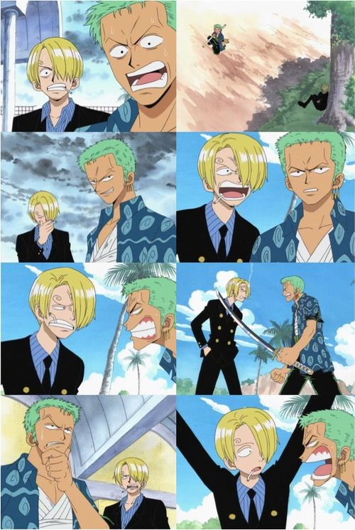 When i see these old screen shots it amazes me how far the anination has come for show :) Zoro and Sanji