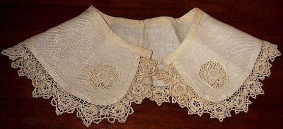 Antique Lace Irish Crochet Collar or Trim for Sewing, Craft or Art Projects 2 pc